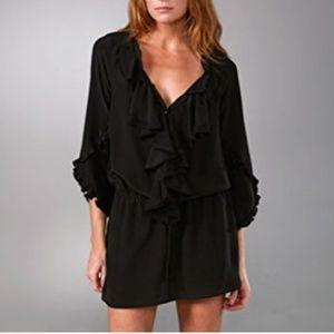 {Rebecca Taylor} Silk Ruffle Front Mini Dress